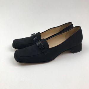 Salvatore Ferragamo Slip On Low Heel Buckle Black